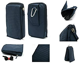 DFV mobile - Funda Multiusos con Varios Compartimentos para Cinturon y Mosqueton para MyWigo Magnum 2 Pro - Azul (16 x 9.5 cm)