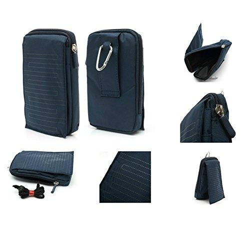 DFV mobile - Multi-Functional Vertical Stripes Pouch Bag Case Zipper Closing Carabiner Compatibile con Samsung Galaxy S7 - Blue (16 x 9.5 cm)