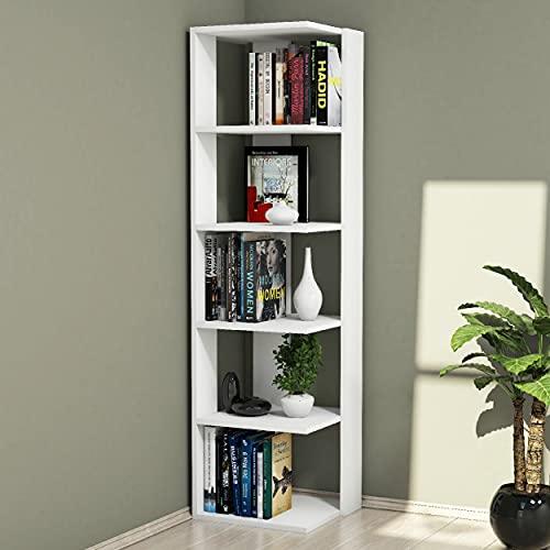 Homemania Libreria Corner, Legno, Bianco, 41,8x41,8x160,8 cm