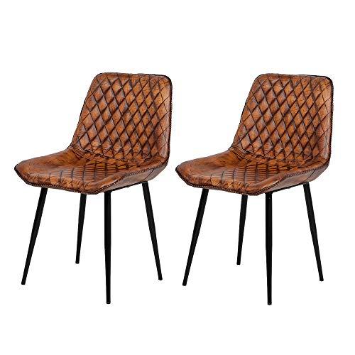 2er Set Leder Stuhl RINARA Cognac-Antik Esszimmerstuhl Wohnzimmerstuhl Vintage