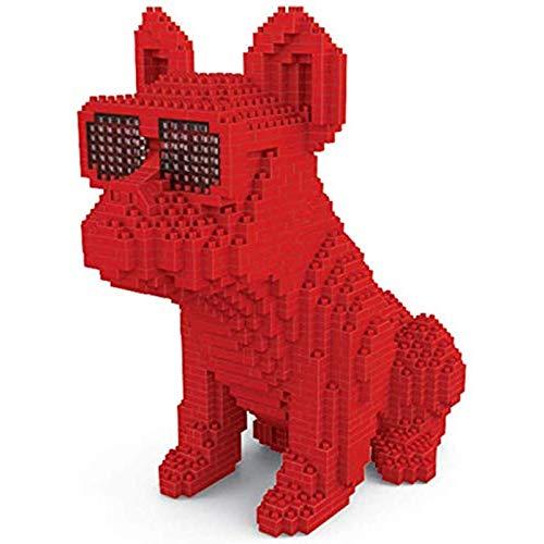 Portonss Bloques de construcción Divertidos para Perros Bulldog Figura de Mascota Modelo 3D Mini Bloques de construcción Juguetes para niños Regalos