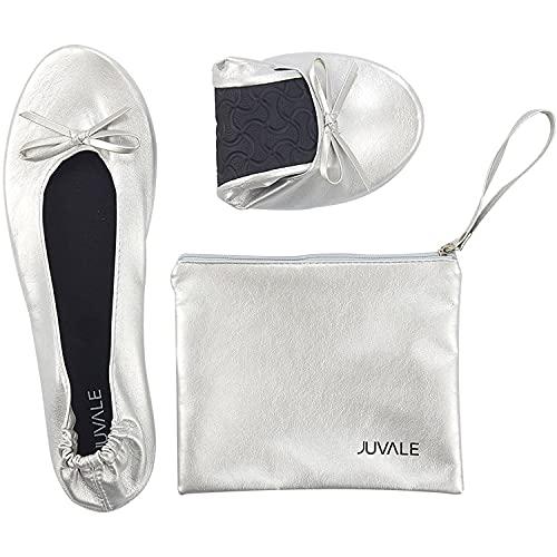 Ballerina Shoes  Foldable Ballet Flats (Silver  US 8.5-9.5)