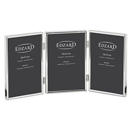EDZARD Dreifach-Bilderrahmen Collage Genua für 3 Fotos 10 x 15 cm, Hochformat, edel versilbert, anlaufgeschützt, mit Samtrücken, Fotorahmen zum Stellen