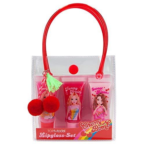 Depesche 11135 Lipgloss Set im Täschchen, TOPModel Cherry Bomb, 3 x 9 ml mit Duft