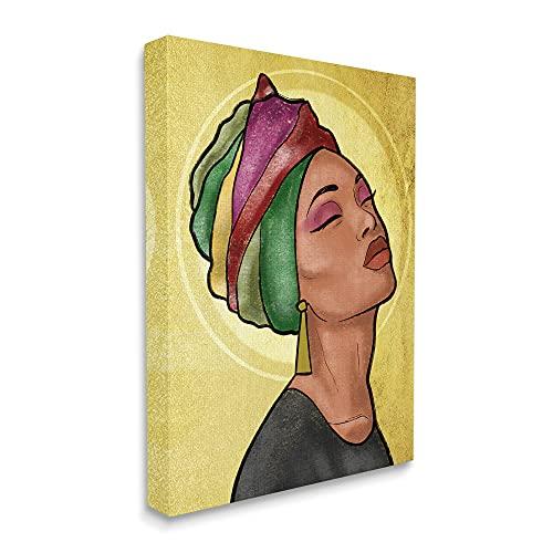 Stupell Industries Glamour Woman Portrait Fashion Cosmetics and Headwrap, designed by Marcus Prime Leinwandbild, 40,6 x 50,8 cm, Gelb