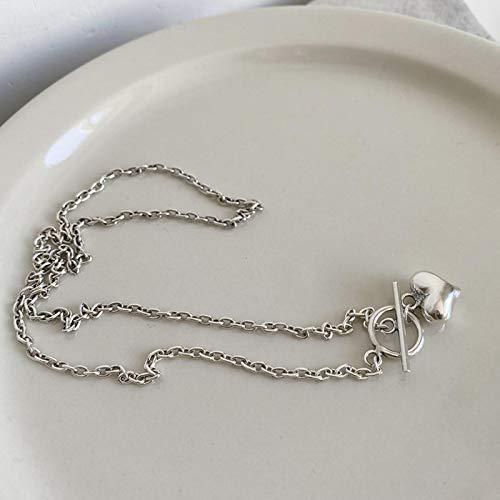 ZHIHUIYU Collar Simple con Colgante de corazón de Amor de Plata de Ley 925, Collar de Cadena con Cierre OT, para Regalos de joyería para Mujeres