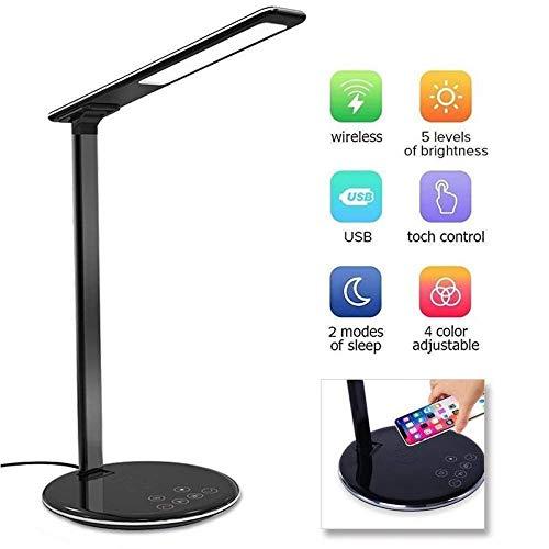 BETTERSHOP ™ 12 W LED bureau, tafel- en kantoorlamp met draadloos snel opladen 4 kleuren en 5 helderheidsniveaus Programmeerbare aanraakschakelaar Kleur Zwart [energie-efficiëntie A]