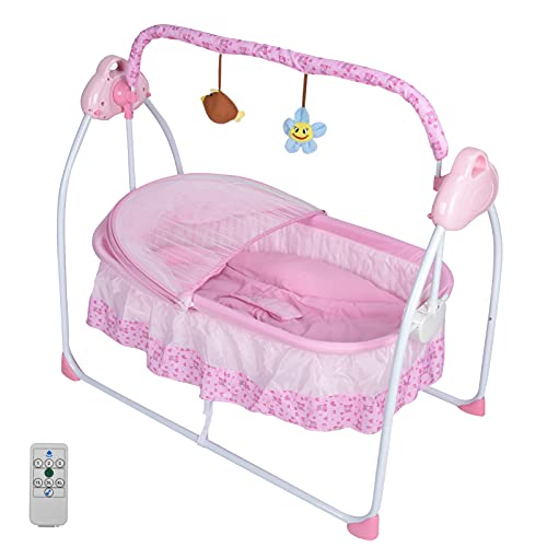 Cuna Para Bebé, Función De Mecedora Con 3 Velocidades Ajustables Y Temporizador, Reproducción De Música, Cuna De Colecho Para 0-18 Meses De Bebés(Rosa)