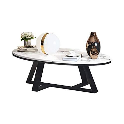 Woonkamer round salontafel Tabellen Oval Koffietafel, wit marmer Top, Black Metal Iron Base, for Living Room Moderne woonkamer ronde tafel