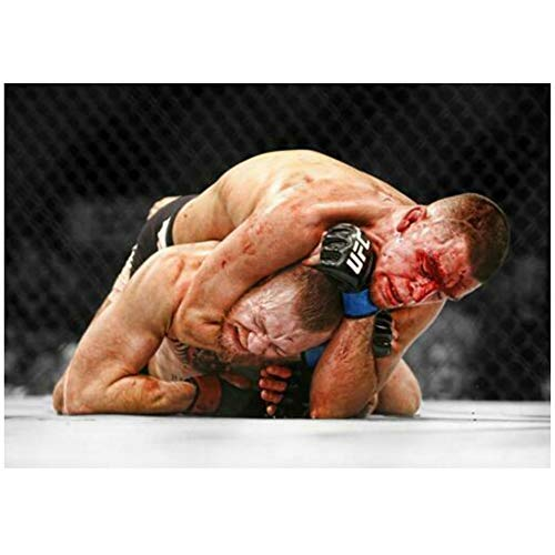 KONGQTE Nate Diaz V Conor McGregor UFC 196 Fight Event Art Posters and Prints Canvas Painting Home Decor -24x36 in No Frame