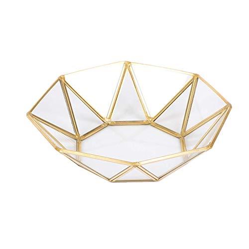 QFWM Catchall TrayGold - Bandeja de almacenamiento de cristal con borde dorado nórdico para joyas, decoración del hogar y cosméticos (tamaño: pequeño; color: octágono)