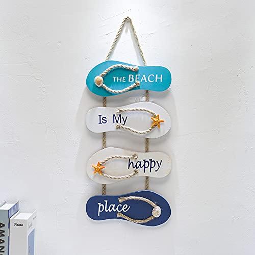 Zhiping Adorno náutico de playa para pared, zapatillas, decoración de madera, decoración para el hogar, para pared y puerta, 47 x 19,5 cm, color verde