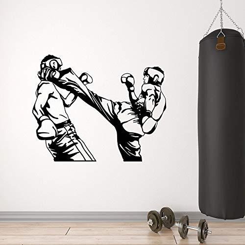 WERWN Vinilo adhesivo para pared, diseño de animación de boxeo y deportes de lucha club gimnasio decoración interior puerta ventana vinilo pegatina hombre cueva arte mural