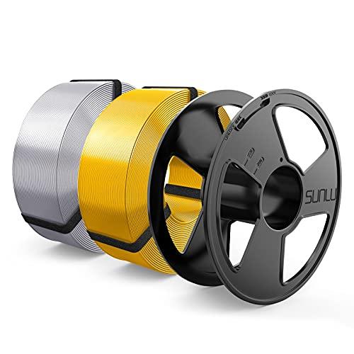Silk Filamento PLA+ 1.75mm MasterSpool, SUNLU Filamento Impresora 3D, Reutilizable Spool, Precisión Dimensional +/- 0.02 mm, 1kg Spool, 2 Paquete, Plata+Luz Oro