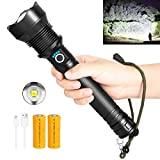 LED Rechargeable High Lumens Flashlight 90000 Lumen Super Bright Flashlight (26650 Battery Included) 3 Modes Zoomable IPX5 Waterproof Flashlights for Camping Hiking Hunting Emergency