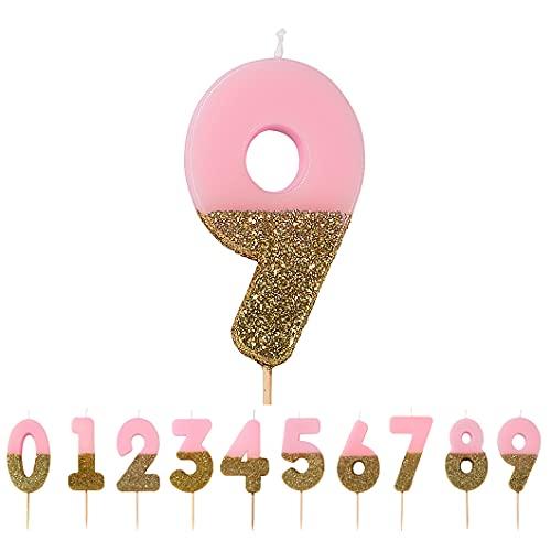Talking Tables Bday-Candle-9 Decorazione per Torta con 10 Candele di Compleanno, Cera, Glitter Oro e Rosa