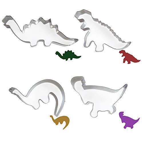 Ealicere Dinosaurier Motiv Ausstechformen Set 4 Stück,Dinosaurier Ausstechform aus Edelstahl, DIY Fondant Plätzchenausstecher Keksschneider Set für Kinder