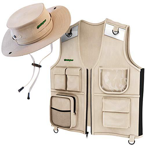 Mini Explorer Forscherset - Cargo Weste & Hut für Junge Kinder von 4 bis 6 Jahren- strapazierfähiger Stoff, 5 Taschen, reflektierende Sicherheitsstreifen - Safari-Geschenk für Junge Forscher