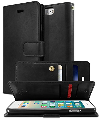 Goospery Mansoor Wallet for Apple iPhone 8 Plus Case (2017) iPhone 7 Plus Case (2016) Double Sided Card Holder Flip Cover (Black) IP7P-MAN-BLK