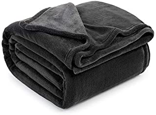 Guken Coral Velvet Blanket Thermal Microfiber Super Soft Cozy Warm All Season Lightweight Luxury Plush Throws Blanket for Bed or Couch Queen Size (90 x 90 inch) Dark Gray
