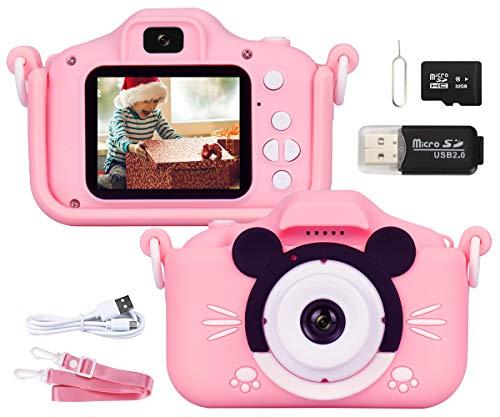 """Kinder Kamera, 2.0""""Display 1080PHD 20MP Digitalkamera für 3 4 5 6 7 Jahre alt mädchen und Jungen, Fotoapparat Kinder für Geburtstagsspielzeug Geschenke mit Weiche Silikonhülle 32GB SD-Karte, Rosa"""
