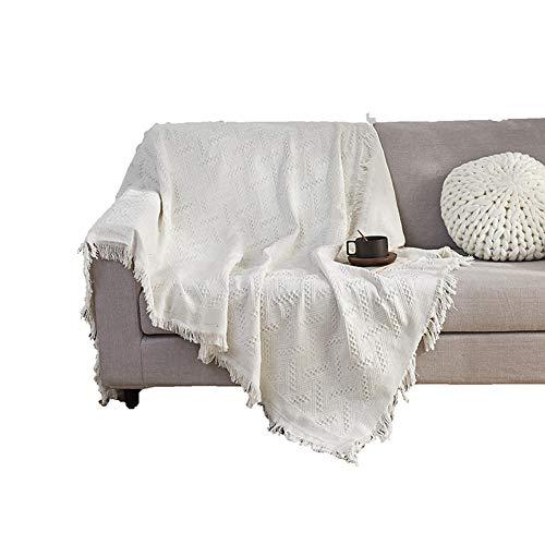 Monba Premium Wendedecke aus 100 prozent Baumwolle, Frühling-Fieber, dekorative Quasten, Sofa-Überwurf, Decken, Schottenkaro, für Sofa, Sessel, Tagesdecke, weiß, Stil 1–130 x 180 cm