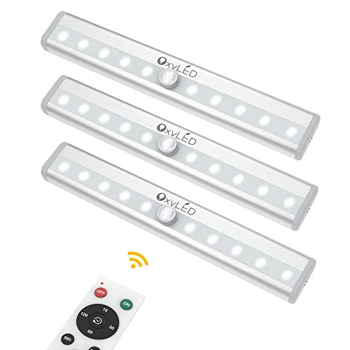 Remote Control Cabinet Lights, OxyLED Dimmable 10-LED Wireless Under Cabinet Lighting, Battery Operated Closet Light, LED Night Light Bar with Magnetic Strip for Closet, Cabinet, Wardrobe (3 Pack)