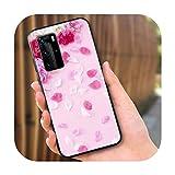 Funda de silicona rosa flores para Huawei P40 P30 P20 Pro P10 P9 P8 Lite E Plus 2019 2017 teléfono Case Style 08-for P40 Pro Plus