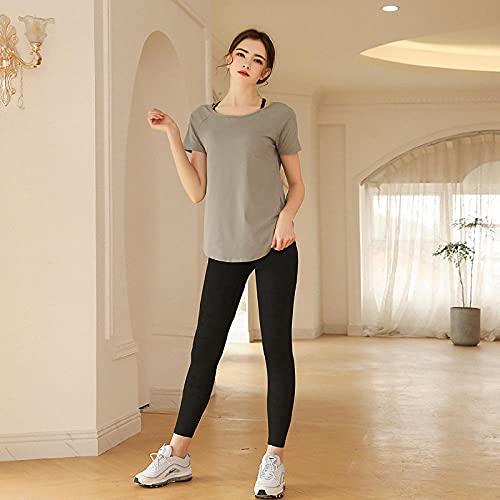 qqff Mallas Sexis Estiramiento,Traje de Fitness de Dos Piezas de Moda Femenina,Traje de Carreras-Gris Negro_S,Levantamiento Glúteos Yoga Pantalones Running
