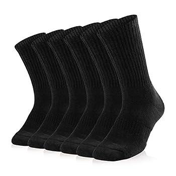 Sox Town Women s Combed Cotton Moisture Wicking Performance Training Hiking Cushion Crew Socks Black L