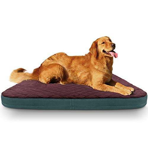 JoicyCo Dog Bed Large Crate Pad Mat Orthopedic Pet Sleeping Beds 39 Inch Washable Non Slip Cushion Mattress with Removable Cover Burgundy L