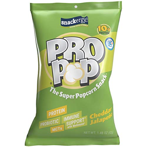 PRO POP Protein Popcorn Snack, Cheddar Jalapeno, 10g Protein, 7g MCTs from Coconut Oil, Non-GMO Air Popped Popcorn, GanadenBC30 Probiotic, Wellmune, 8 Single-Serve Bags