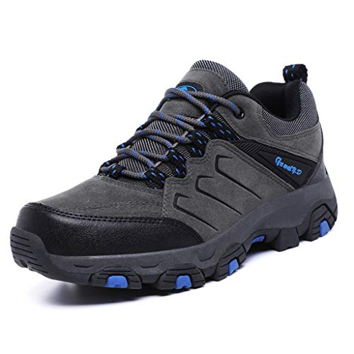 Zphy Men Hiking Walking Trail Boots Leather Waterproof Ankle High Rise Shoe Hiking Boots as The Best Gift for Christmas for Autumn and Winter (Color : Gray, Size : 9.0UK)