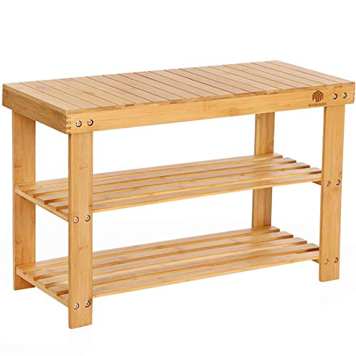 Bamboo Shoe Rack Bench,Entryway Organizer with Storage Drawer 3-Tier,Bathroom Shelf with Shoe Horn,Holds Up to 280LB,27.5x11.2x18 Inches
