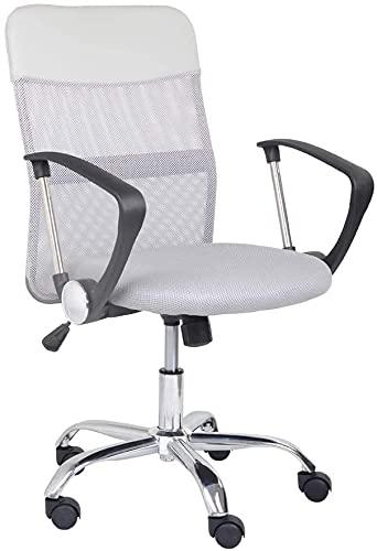 GOLDFAN Mesh Computer Desk Chair Office Chair High Back Swivel Chair Height Adjustable Swivel Desk Chair Ergonomic Lumbar Support (Grey, 1)