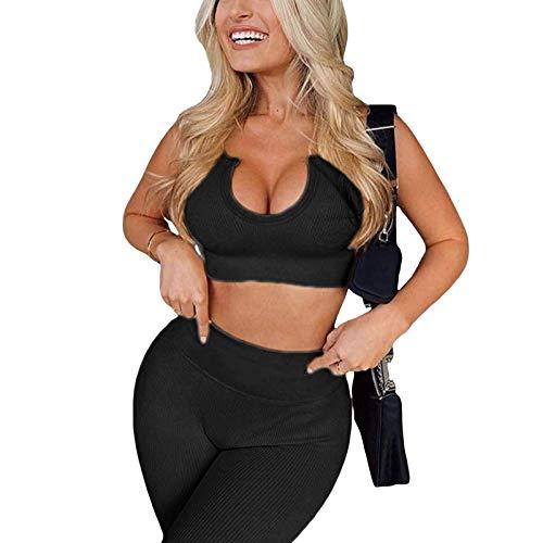 Trajes de Entrenamiento Acanalados para Mujer, Sujetador Deportivo de Yoga sin Costuras, Conjunto de Mallas de Cintura Alta, chándal Informal de Verano para Gimnasio (Black, X-Large)