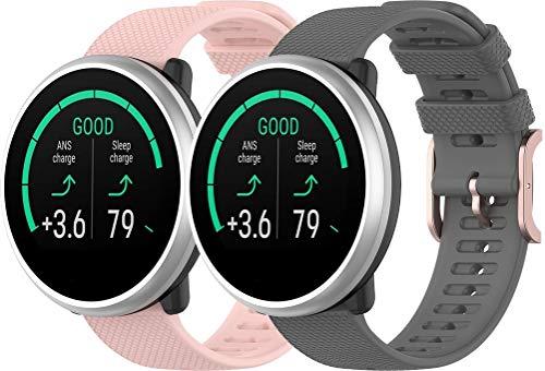 Simpleas Correa de Reloj Compatible con Garmin vívomove 3 (44MM) / Luxe (42MM) / Vivoactive 3, Silicona Correa Reloj con Acero Inoxidable Hebilla desplegable (20mm, Rosa Claro + Gris)
