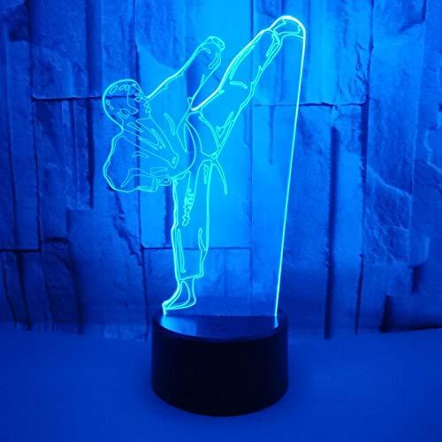 KangYD Modelo de Taekwondo de Karate con luz nocturna 3D, Lámpara de ilusión óptica LED, A - Touch negra Base (7 colores), Regalo de la suerte, Lámpara de ilusión