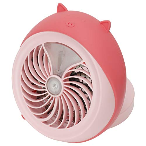 Crisis Ventilador de Escritorio Personal pequeño, Mini Ventilador de pulverización con batería de 3,5 W, 6,7 x 6,9 x 2,7 Pulgadas para Viajes, escuelas, oficinas al(Pink Pig)