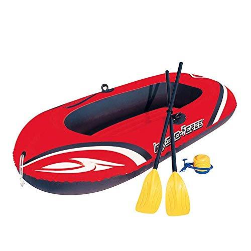 GUOE-YKGM Kayak Schlauchboot Faltkajak Outdoor Kanu Komfortable Kajak Freizeit Faltboot 1-2 Personen Schlauchboot Marine Sport Angeln Abenteuer Starke verschleißfesten PVC Kunststoff 196 * 114 cm Rot