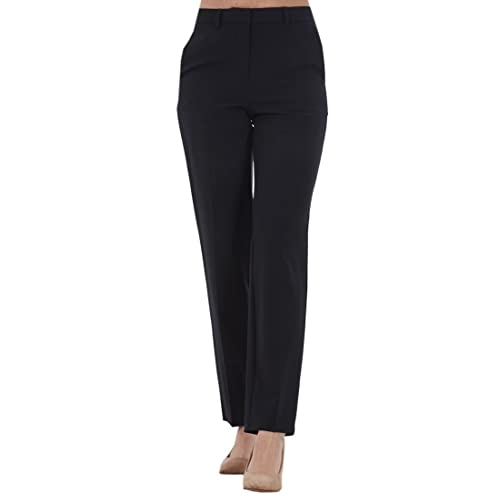 61d3f49e61380 Ex Famous Store Ladies Black Work Straight Leg Office Woman Formal Trousers