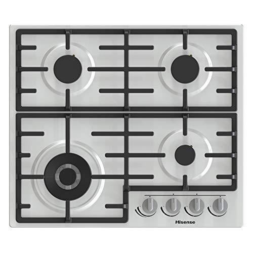 Hisense GM663XB - Placa de cocción a gas, 4 zonas de cocción, 60 cm de ancho, quemador wok con doble corona y rejillas de hierro fundido, encendido integrado, acero inoxidable antihuellas
