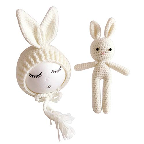 Jastore Infant Newborn Photography Prop Photo Crochet Boys Girls Knit Toy Bear Hats (Rabbit-Beige)