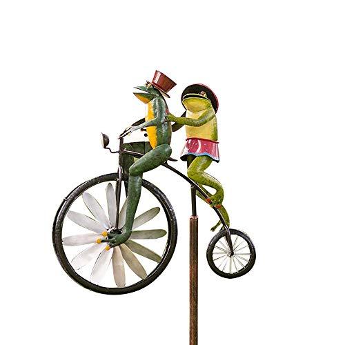 LJHG Vintage Bicycle Metal Wind Spinner,Frog Riding Bike Wind Spinner,Frogs on a Vintage Bicycle Metal Garden Cute Animal on Bike Spinner Mental (Frog)