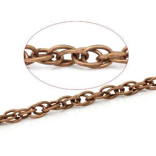 Charming Beads Continuo Lunghezza 5 Metri Rame Rosso Lega Placcato 4x5.5mm Catena Doppia Maglia - (CH1370)