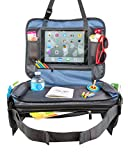 "BE Family Travel - Kids Car Seat Toddler Travel Tray with Unique Fold-in ""No Need to Unload Again"" Side Pockets with Zipper Blue Lap Play Snack Tray"