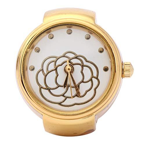 【Venta del día de la Madre】 AMONIDA Reloj de Anillo de patrón, Reloj de Anillo de Cuarzo Simple, Chicas Hermosas para la mayoría de Las Mujeres(Golden)