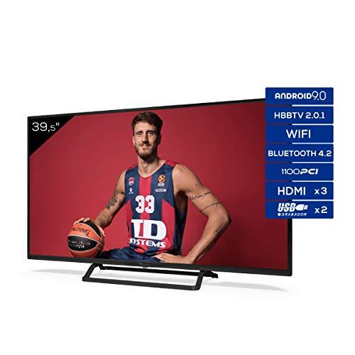 "TD Systems K40DLX11FS - Televisor Smart TV 40"", Android 9.0 y HBBTV, 1100 PCI Hz, 3X HDMI, 2X USB. DVB-T2/C/S2, Modo Hotel, Negro"