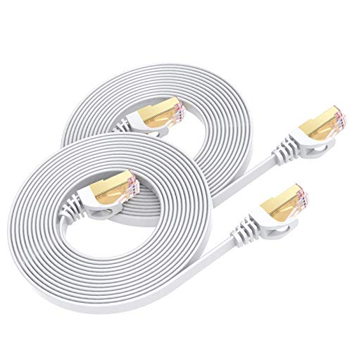 Cable Ethernet Cat7 de 1M(2PCS), BUSOHE Cable de Red Plano RJ45 Gigabit LAN de Alta Velocidad, Cable de Conexión a Internet de 10Gbps y 600Mhz para Switch, Rúter, Módem, Panel de Conexión, PC (Blanco)