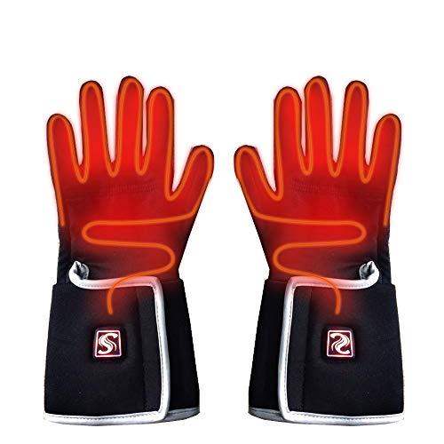 Wangxiaoxia-Sports Beheizte Handschuhe Elektro-Akku Beheizte Handschuhe for Mann-Frauen mit 3 Ebenen Temperiergeräte for Schnee-Skifahren Schlittschuhlaufen Handschuhe Wintersport Thermal Maßnahmen
